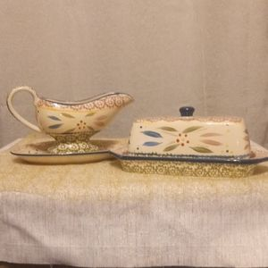 4 Piece Set w/ Butter Dish & Gravy Boat and Tray